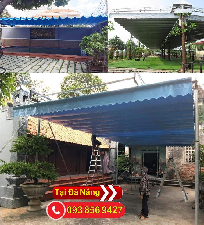 Hoàng thiện thi công lắp đặc mái hiên mái kéo bạt xếp giá rẻ tại Đà Nẵng